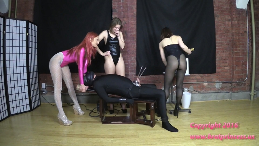 [BratPrincess.us] Amadahy, Kendall & Lola (Chastity Slave Plays The Bikini Edging Game - Complete) [2016 г., Femdom, Humiliation, High Heels, Chastity, Financial Domination, Edging, Milking Machine, Tease & Denial, 1080p]